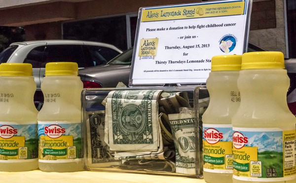 lemonade in bottles and donation jar