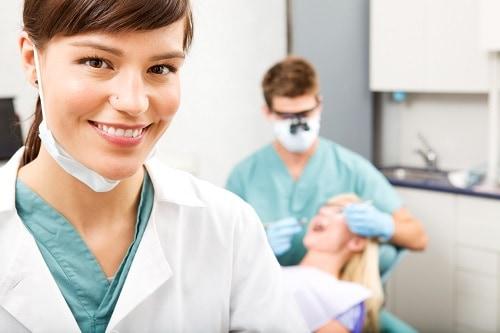 female dental hygienist